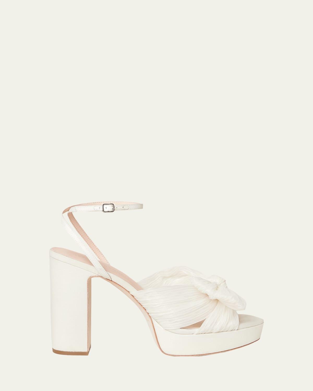 Pleated Knot Ankle-Strap Platform Sandals