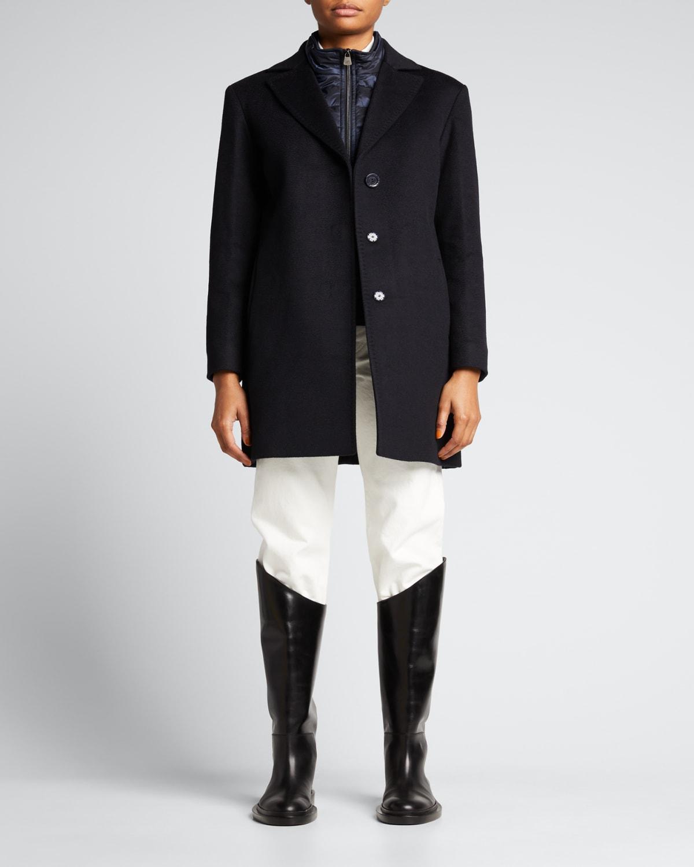 Virgin Wool Coat with Nylon Bib