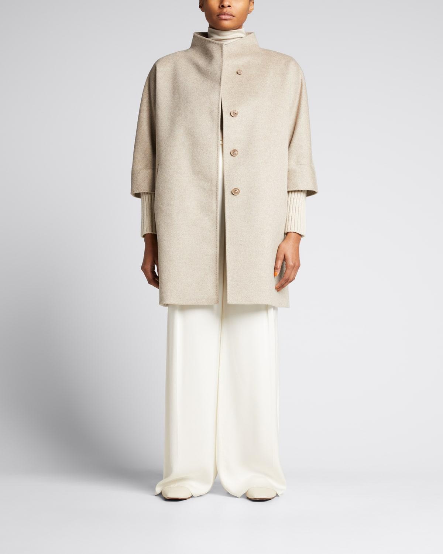 Stand-Collar Wool-Cashmere Coat w/ Knit Cuffs