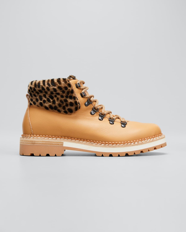 Clara Leopard-Print Shearling Winter Booties