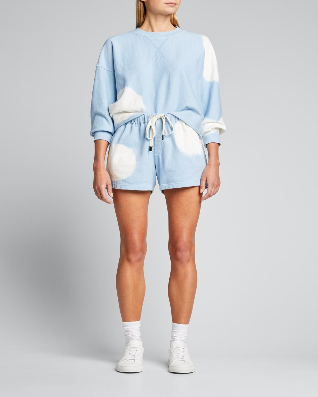 Radial Tie-Dye Cropped Fleece Sweatshirt