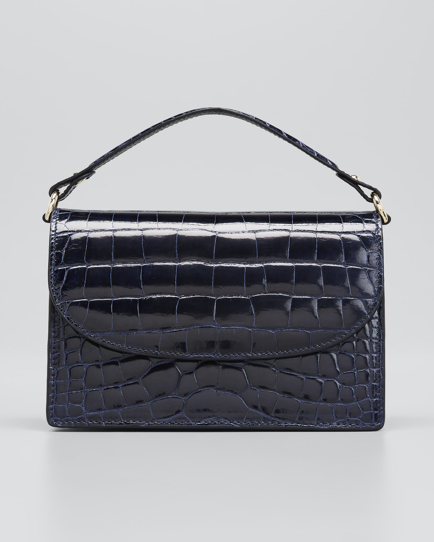 Valencia Shiny Alligator Top-Handle Crossbody Bag
