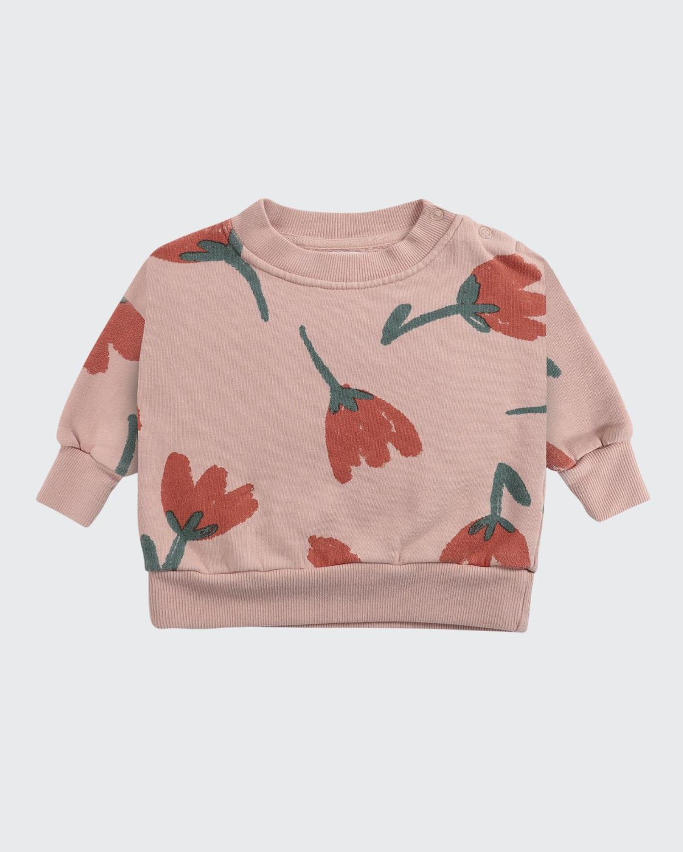 Girl's Big Flower-Print Sweater