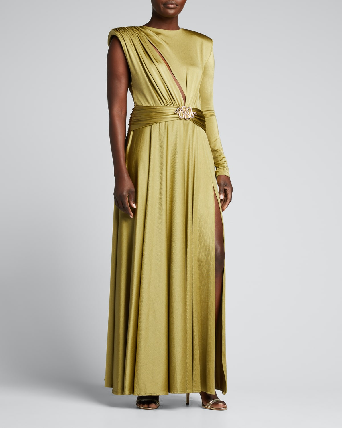 Starlight Olive Asymmetric Gown