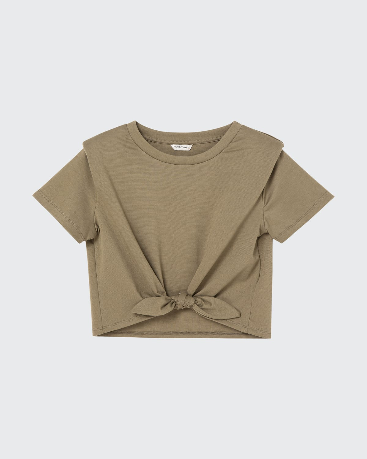 Girl's Olive Self-Tie Cropped Top