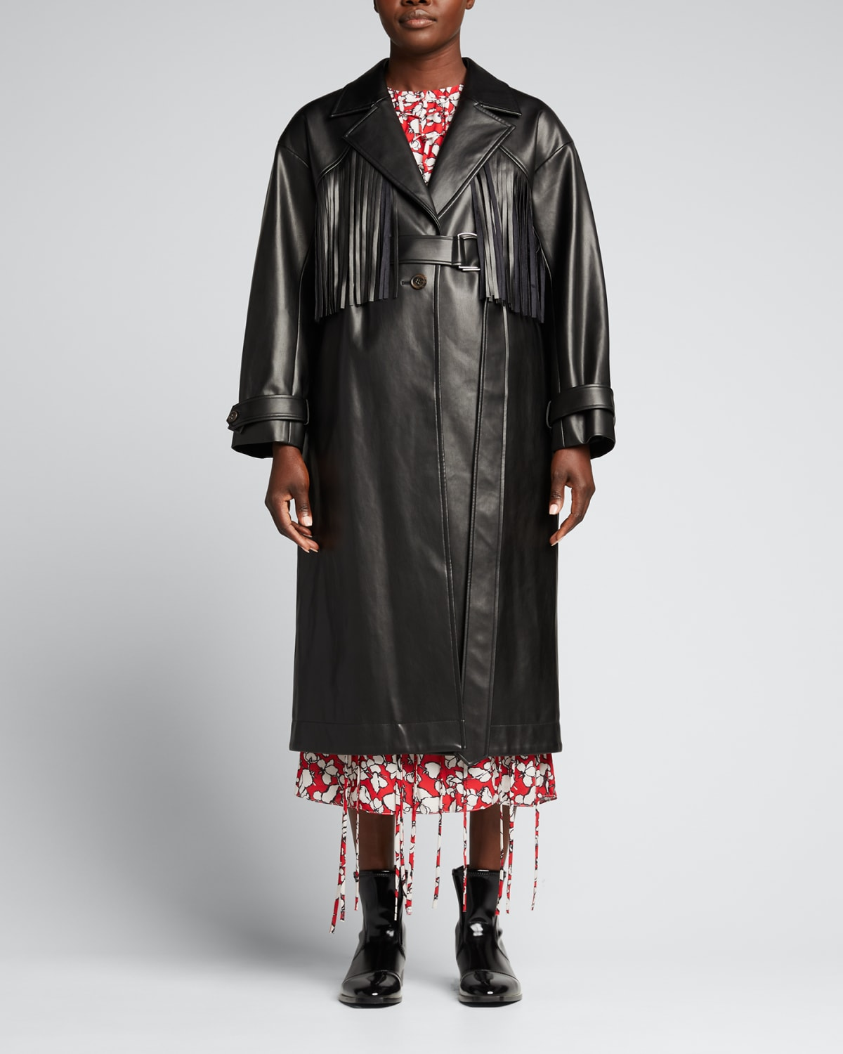 Faux Leather Fringe Detail Trench Coat