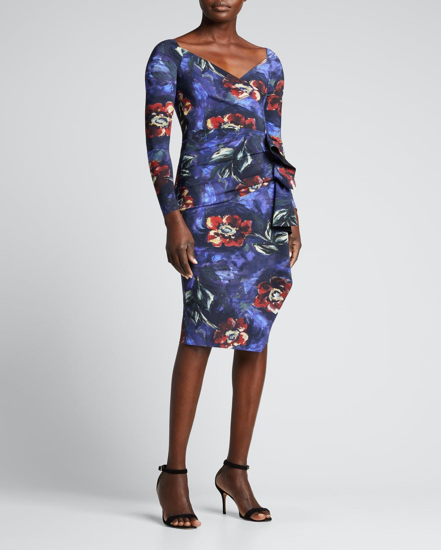 Silveria Floral-Print Side-Ruffle Dress