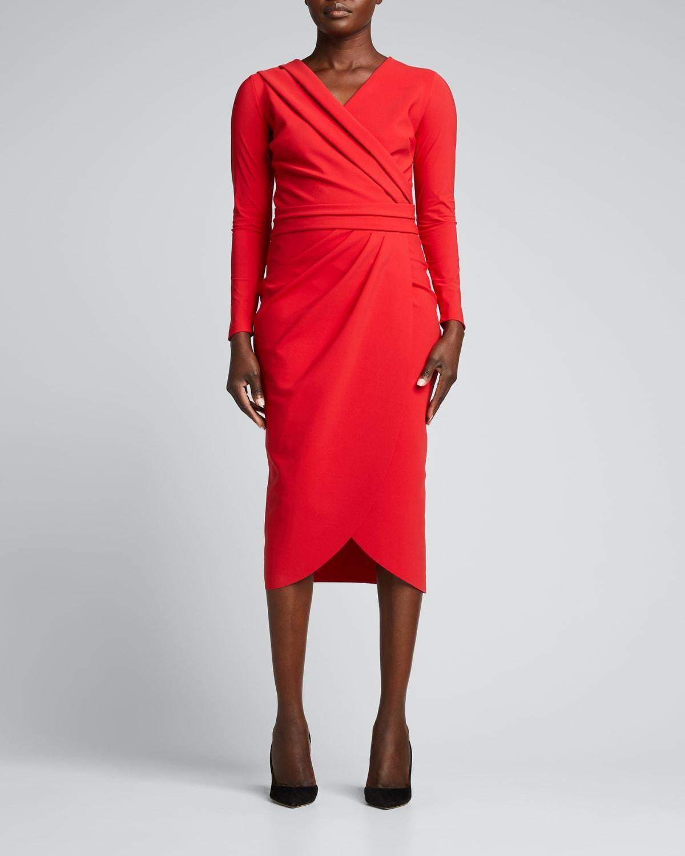 Jodene Long-Sleeve Jersey Wrap Dress