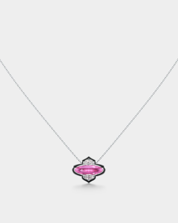 18k White Gold Diamond and Rubellite Necklace