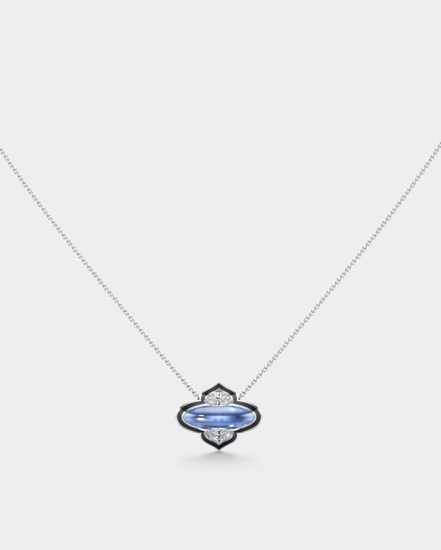 18k White Gold Diamond and Tanzanite Necklace