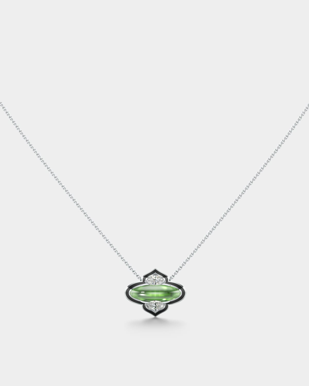 18k White Gold Diamond and Tourmaline Necklace