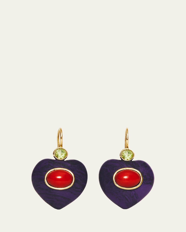 Resin and Peridot Heart Dangle Earrings