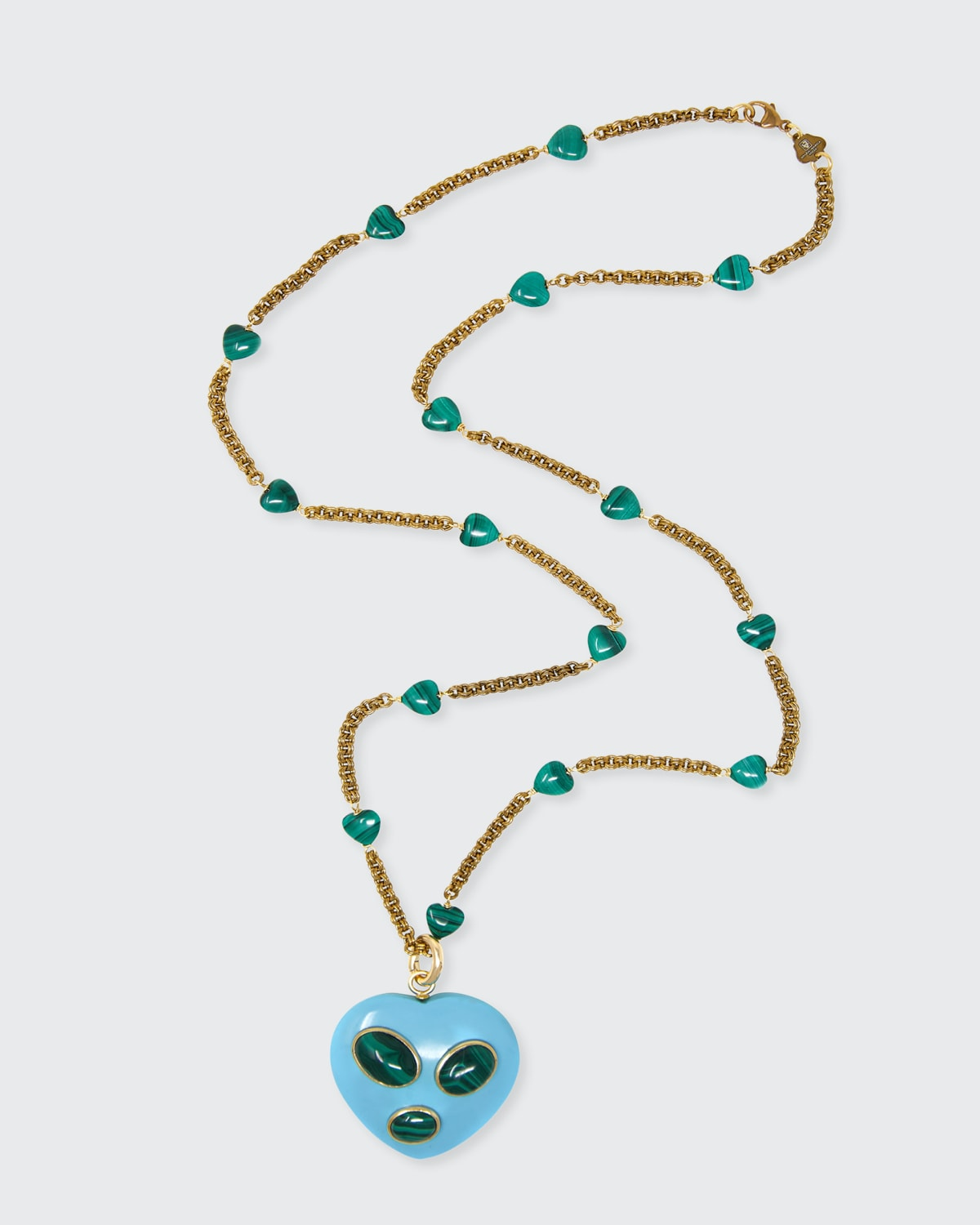 Turquoise and Malachite Heart Charm Necklace