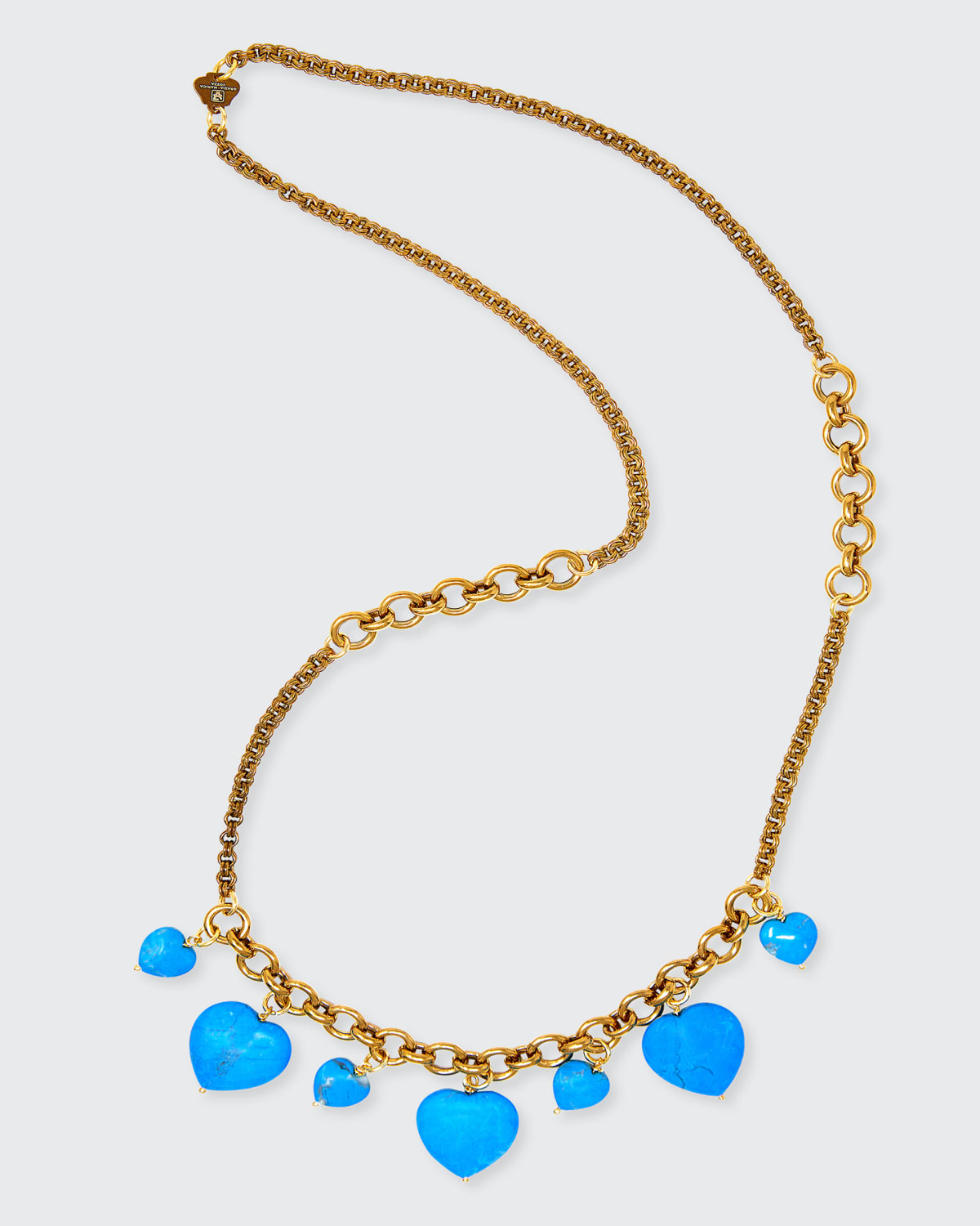 7-Heart Charm Turquoise Necklace