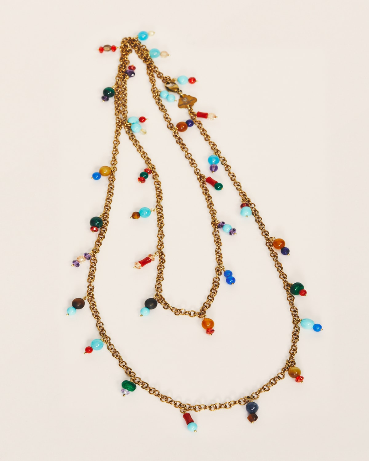 Assorted Stones Fringe Chain Necklace