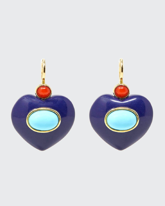 Blue Resin Heart Earrings