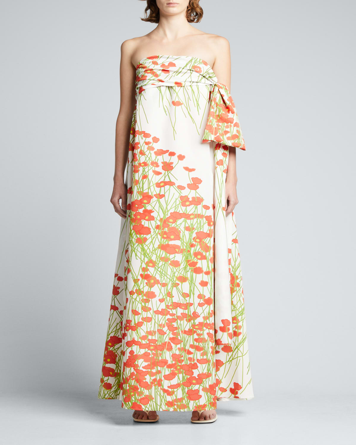 Martin Floral-Print Strapless Gown w/ Side-Bow