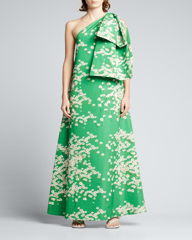 Winnie One-Shoulder Floral-Print Dress