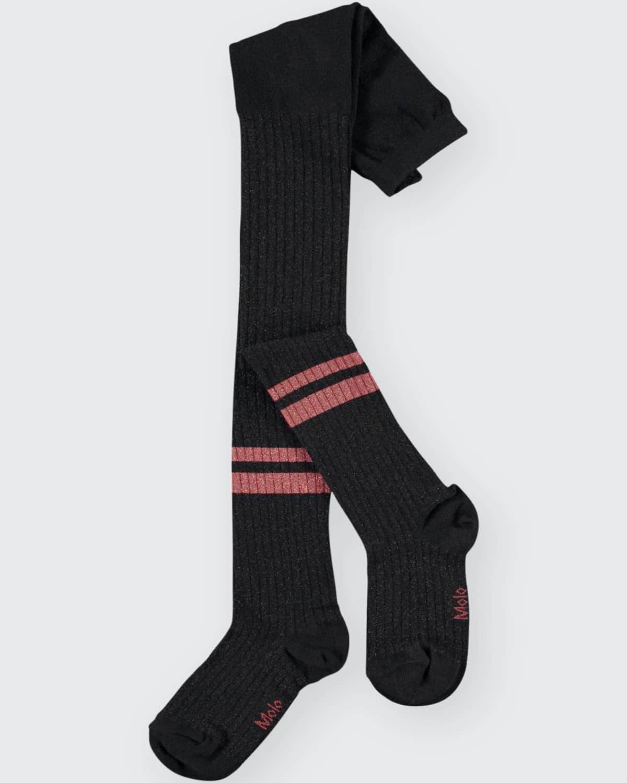 Girl's Metallic Striped Rib-Knit Tights