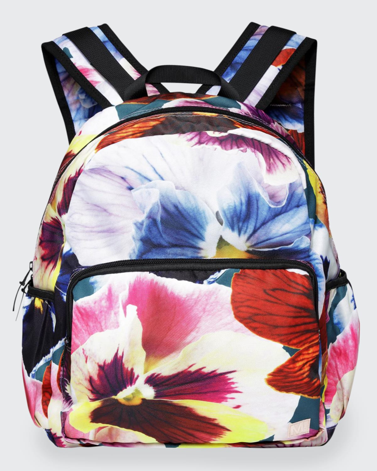 Girl's Pansy-Print Recylced Polyester Big Backpack