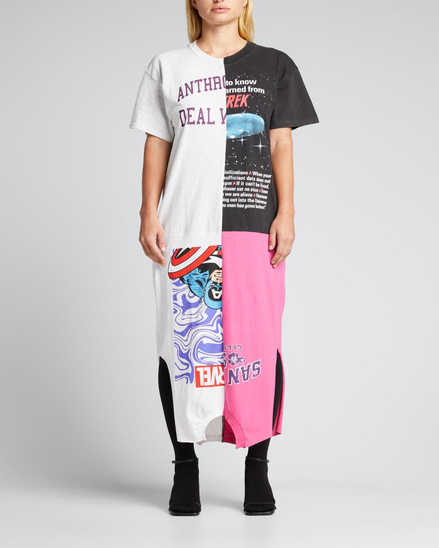 Patchwork T-Shirt Short-Sleeve Midi Dress