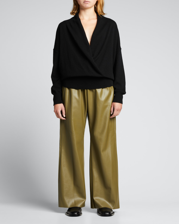 Savannah Faux Leather Wide-Leg Pants