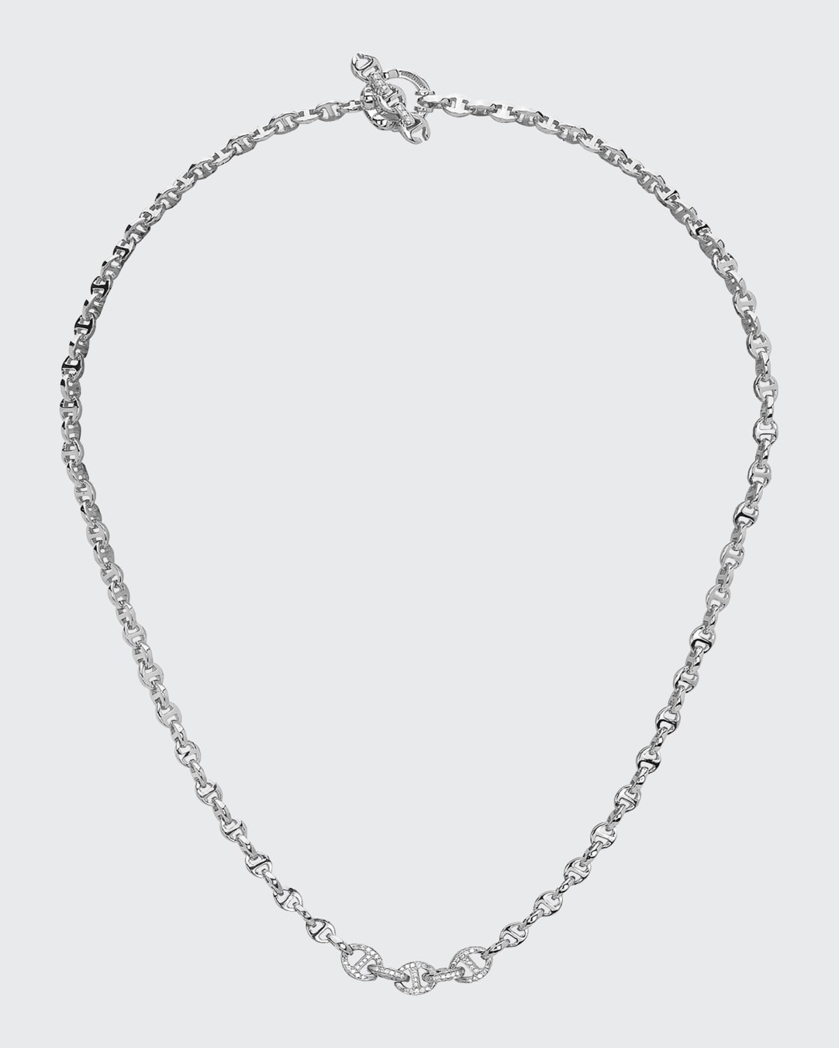 18k White Gold 3mm Mini Open-Link Necklace with 5-Link Micro Pave