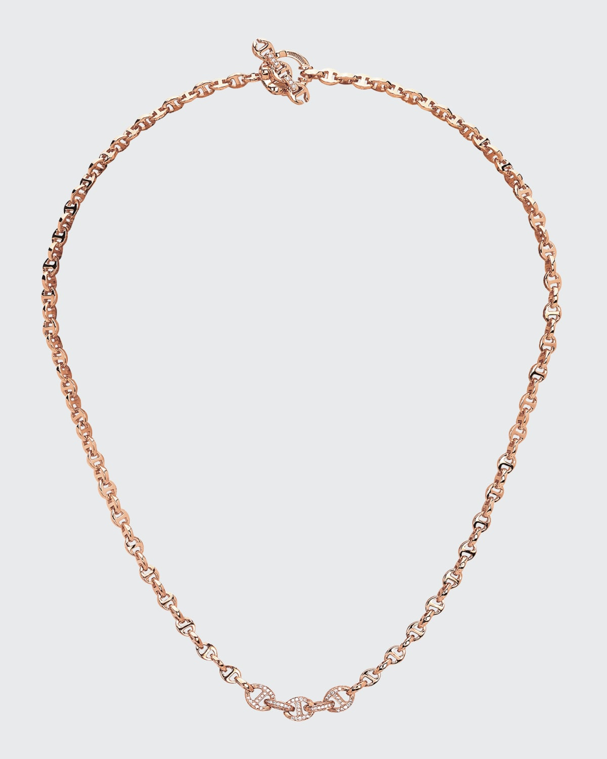 18k Rose Gold 3mm Mini Open-Link Necklace with 5-Link Micro Pave