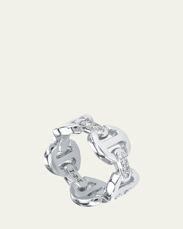 18k White Gold Dame Classic Tri-Link with Diamond Bridges Ring