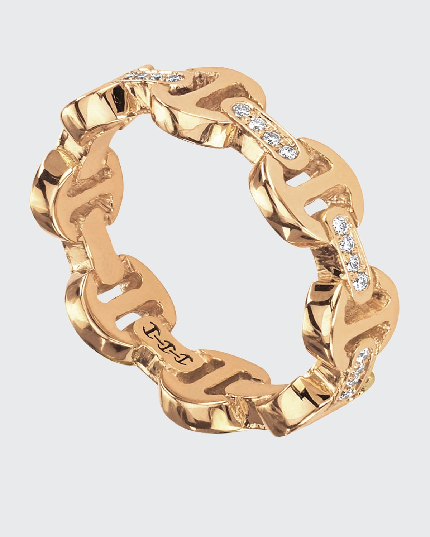 18k Yellow Gold Dame Tri-Link with Diamond Bridges Ring