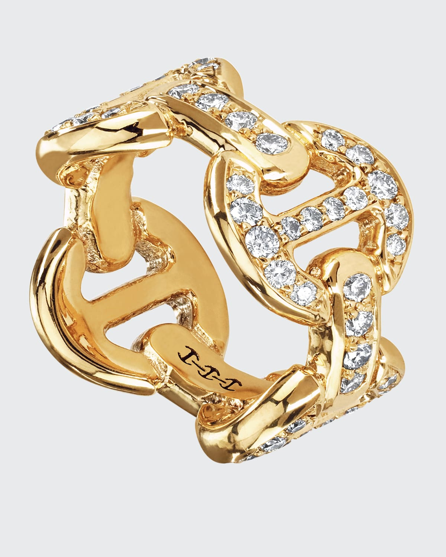 18k Yellow Gold Quad-Link White Diamond Antiquated Ring