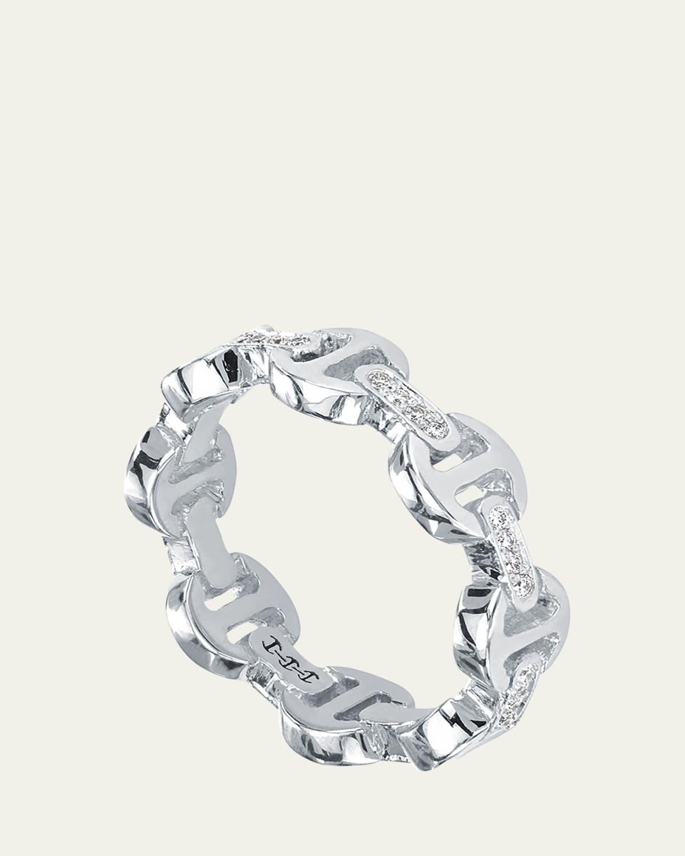 18k White Gold Dame Tri-Link with Diamond Bridges Ring