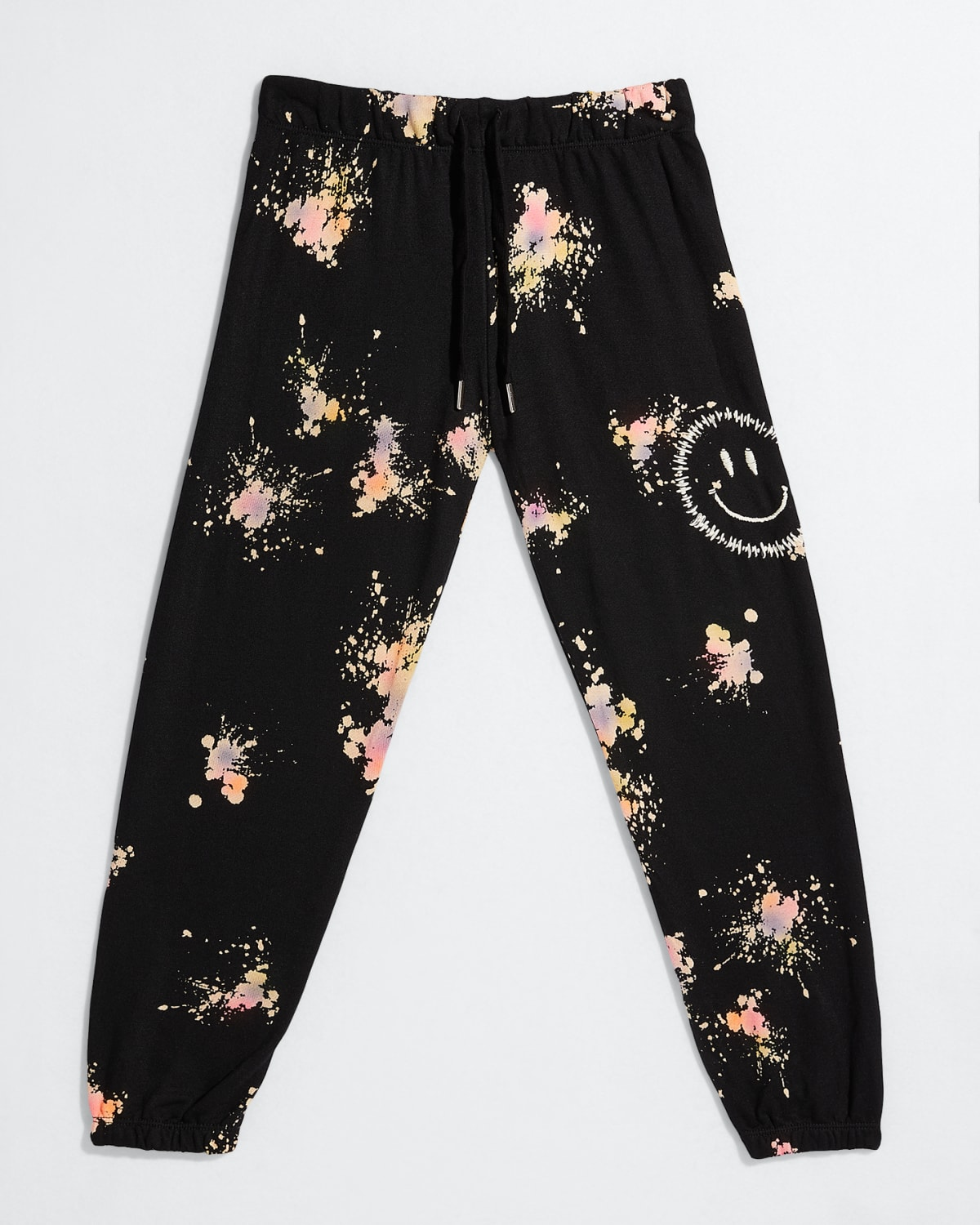 Girl's Smiley Face Embroidered Jogger Pants