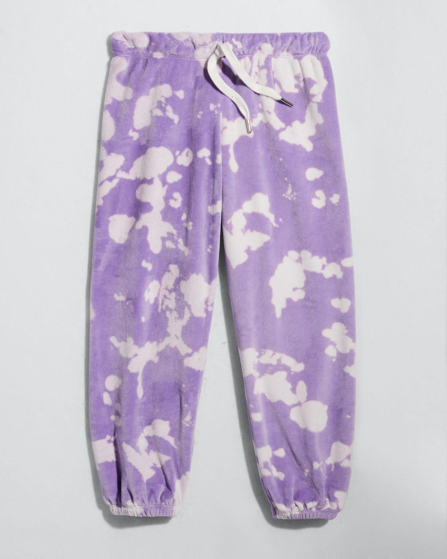 Girl's Bleached Velour Drawstring Jogger Pants
