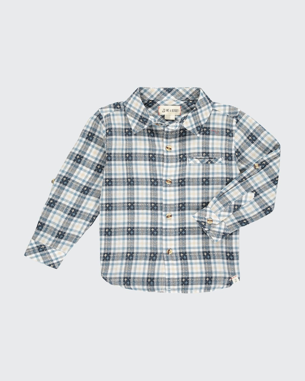 Boys' Atwood Crosses-and-Plaid Woven Shirt