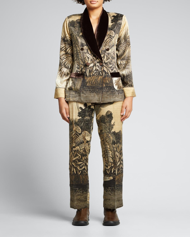Double-Breasted Silk Palm-Print Jacket w/ Velvet Trim