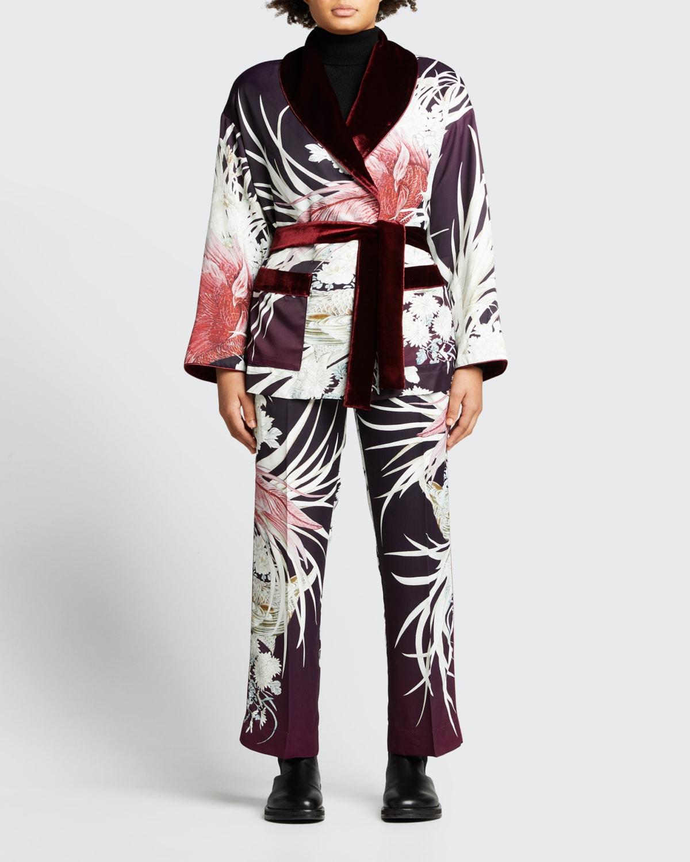 Floral-Print Pajama Pants w/ Velvet Trim