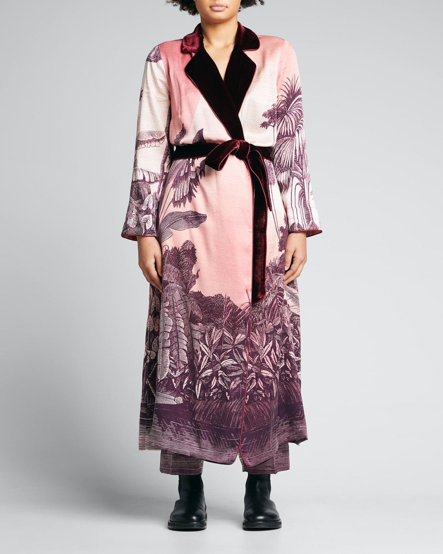 Palm-Print Belted Robe w/ Velvet Trim