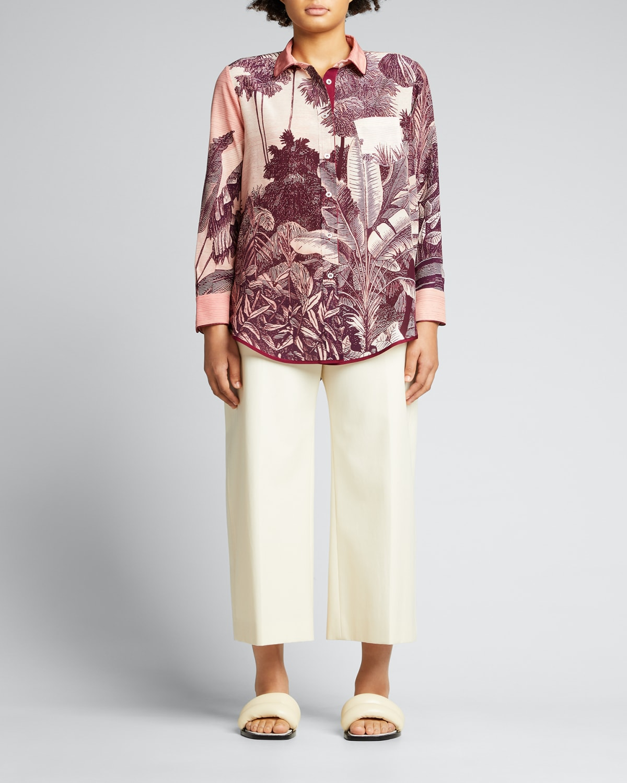Jungle-Print Silk Pajama Blouse