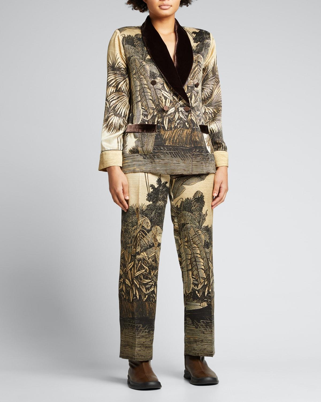 Palm-Print Silk Pajama Pants w/ Velvet Trim