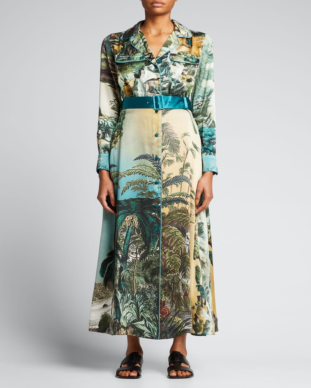 Jungle-Print Silk Belted Midi Dress