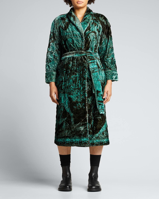 Printed Quilt Velvet Belted Mid Robe
