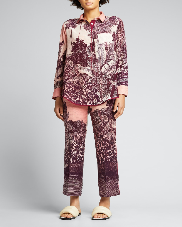 Jungle-Print Silk Pajama Pants