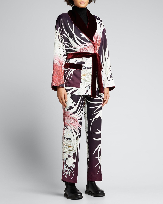 Printed Belted Wrap Jacket w/ Velvet Trim