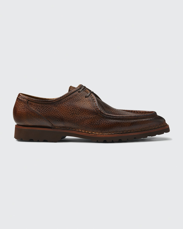 Men's Pebbled Leather Lug-Sole Oxfords