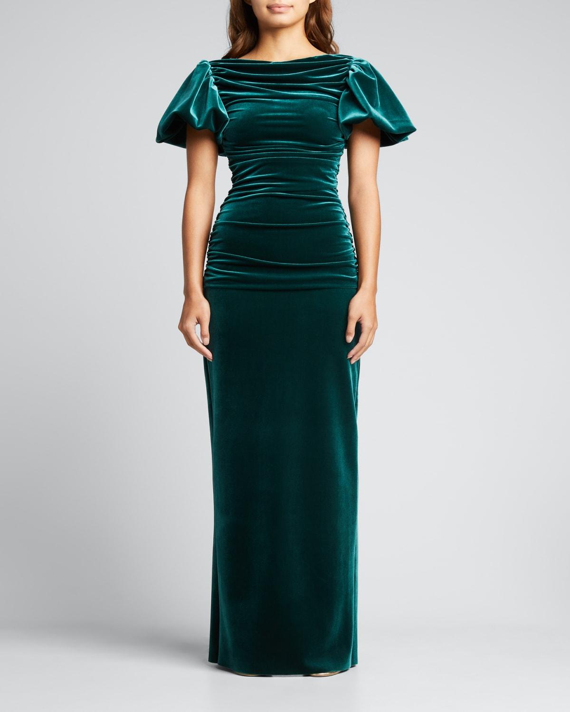 Hiromi Puff-Sleeve Shirred Velvet Gown