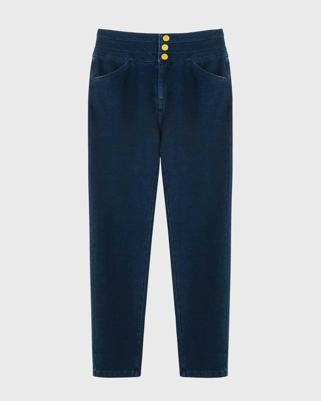 Girl's Knit Button-Fly Denim Jeans