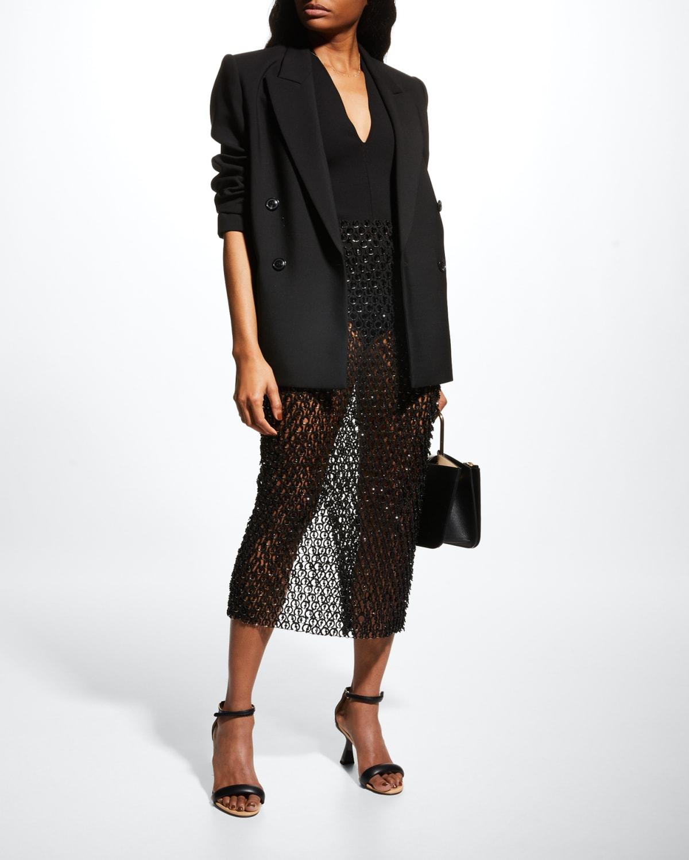 Beaded Lasercut Silk Chiffon Midi Skirt