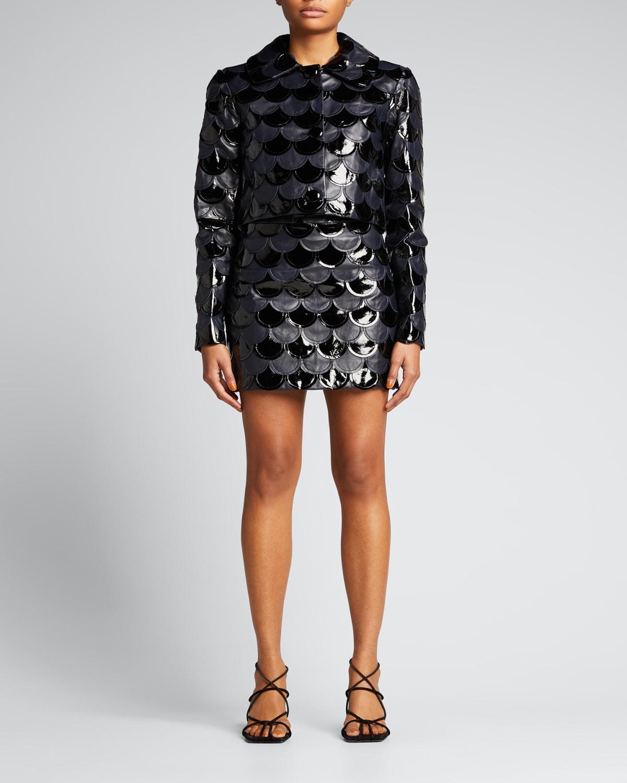 Two-Tone Scalloped Leather Mini Skirt