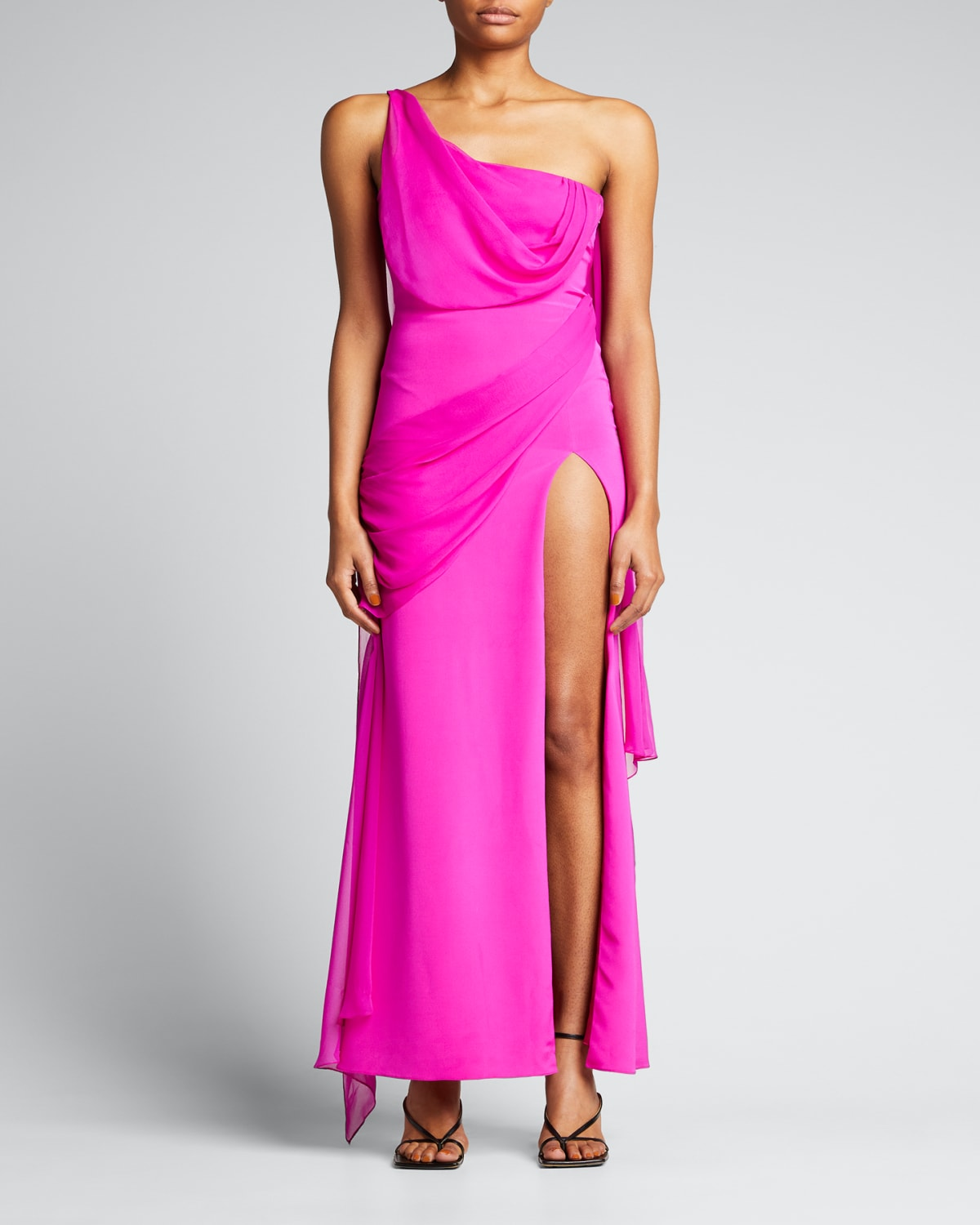 Draped One-Shoulder Silk Gown